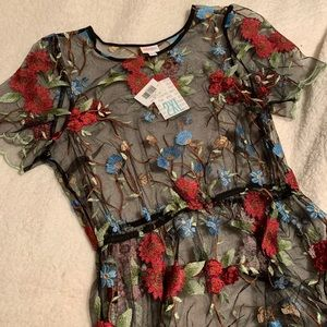 Lularoe Deanne 2 Overlay Dress Black